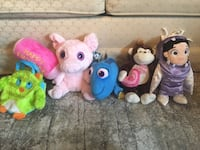 Assorted stuffed animals. $2.00 for hammer, owl purse, pig and monkey. $5.00 for dory and boo   Toronto, M1E 1Y7