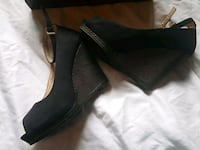 pair of black leather heeled shoes Manteca, 95336