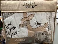 """NEW 5pc crib set woodland creatures - levtex """"bailey"""" Fall River, 02723"""