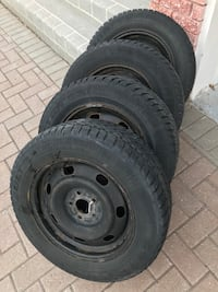 215/60R16 Goodyear Ultra Grip Ice. Four Winter tires mounted on steel rims in very good condition. You can easily use for three more Winter seasons .