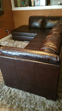 brown leather padded sofa set West Columbia, 29169