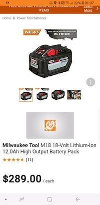 Milwaukee M18 Lithium Ion 12.0Ah High Output Batte Brampton, L6T 1W2