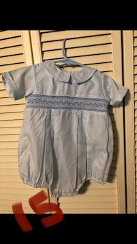 Baby boy 12m blue smocked bubble suit
