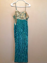 women's teal gold-colored spaghetti-strap dress Prichard, 36610