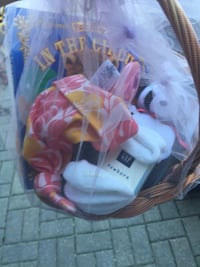Baby gift basket. Include baby gap socks and hat. Baby shampoo, washcloth, little bear and adorable book I used to make baby baskets . This one is well below my cost. Vaughan, L4J 5L7