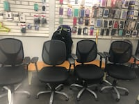 four black leather rolling chairs Westminster, 92683