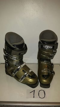 pair of gray-and-brown Technica ski boots
