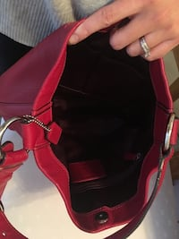 COACH red leather hobo bag