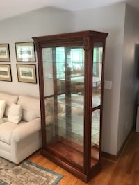 brown wooden framed glass display cabinet Fairfax Station, 22039