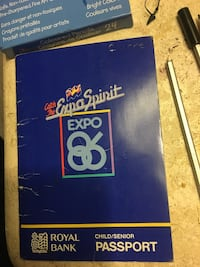 1986 Expodition passport with admission ticket intact. Abbotsford
