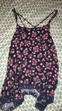 Black and pink floral spaghetti strap top Norman, 73072