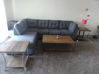 Charcol L-Shape Sofa with 2 Wood End Tables  LANHAM