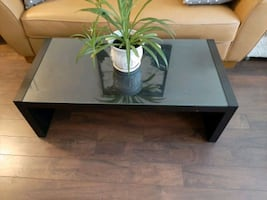 Coffee table or TV stand, black- brown, glass