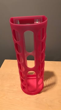 Pink plastic tumbler for storing bags (discounted)