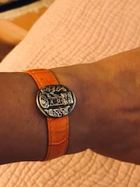 "Brand new genuine leather - sterling silver Mayan ""Musuem"" bracelet - matching earrings and ring"