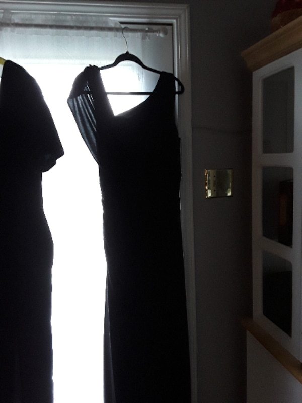 Used Black Grecian Style Dress Draped Back Short Train For Sale In