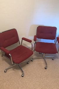 Swivelling Office Arm Chairs on wheels.  Burgundy colour. Toronto, M3A 2A2