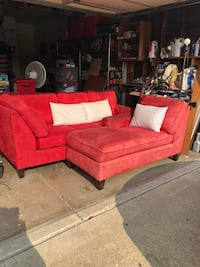 red fabric sectional sofa with throw pillows Castro Valley, 94546