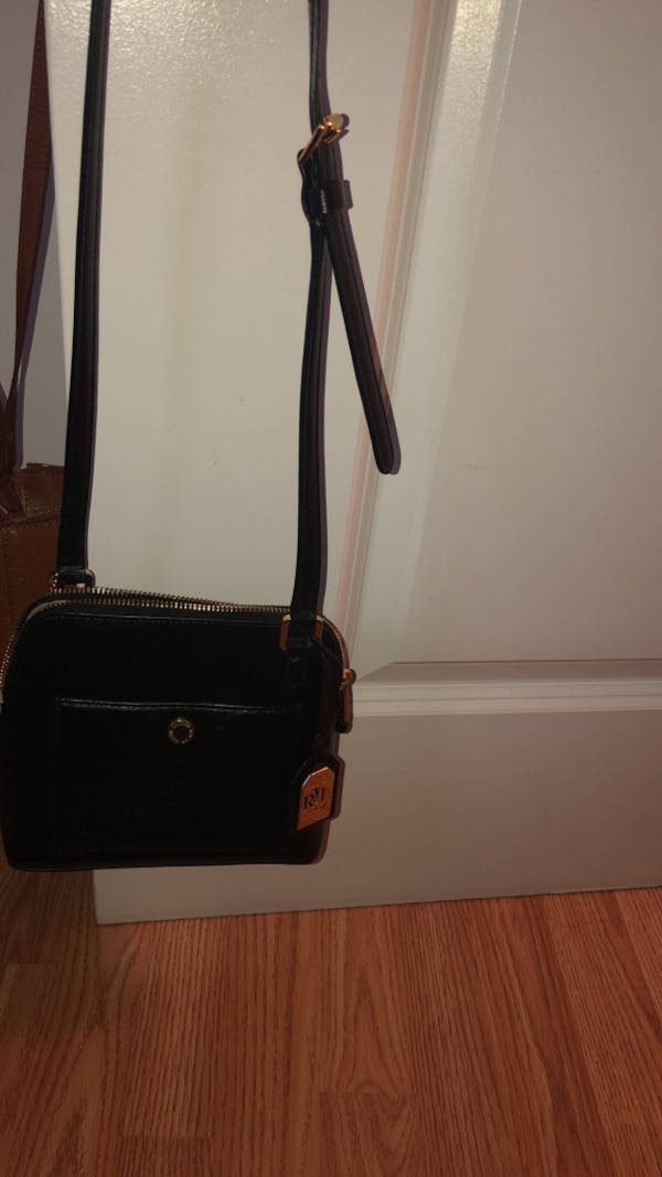 Ralph Lauren small shoulder bag -real leather black/gold accents