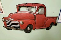 Old Vintage Antique Ford Chevy Pickup Truck Metal Wall Art Sign Hanger