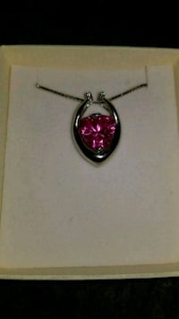 """Pink sapphire 8ct 925 sterling silver Italy 18"""" chain"""