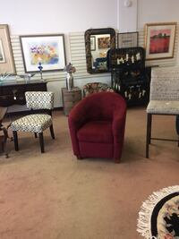 Burgundy Fabric Club Chair