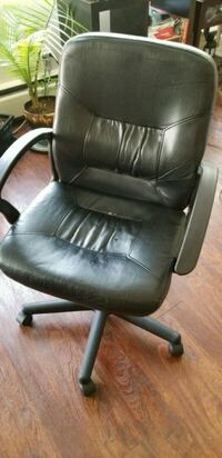 Black Leather Ikea office armchair Coquitlam, V3J 1T5