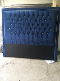 black wooden framed black leather padded headboard Brampton, L6P 1K3