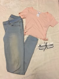 Peach crop top and jeans tumble style outfit  Markham, L6E 0L6