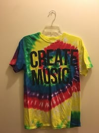 green, blue, and red tie dyed crew-neck t-shirt