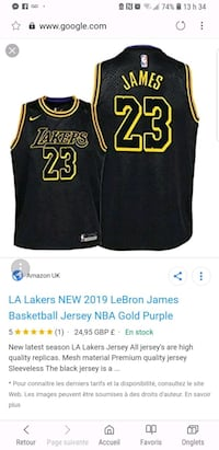 black and yellow Los Angeles Lakers jersey screenshot Montreal, H3N 1S8