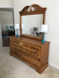 brown wooden lowboy dresser with mirror Ashburn, 20148