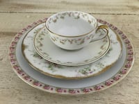 """Sweet Vintage Limoges dishes. Mix and match floral pattern with 2 sets of dinner plate, salad/bread plate and cup/saucer. One additional 8.5"""" Limoges plate. Buy all 9 pieces for best price 24 km"""