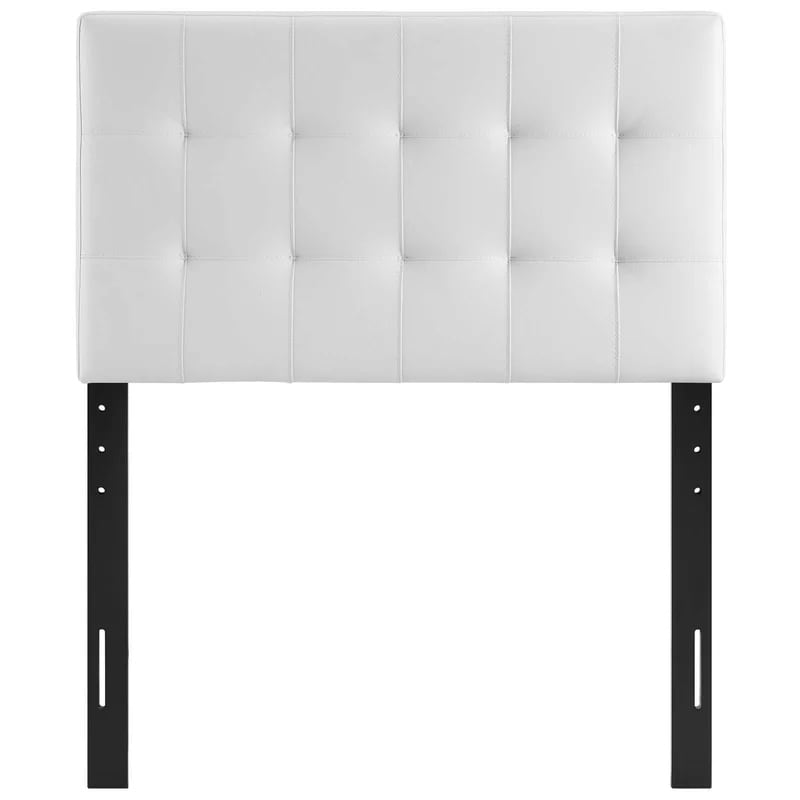 White Upholstered Leather Queen Headboard