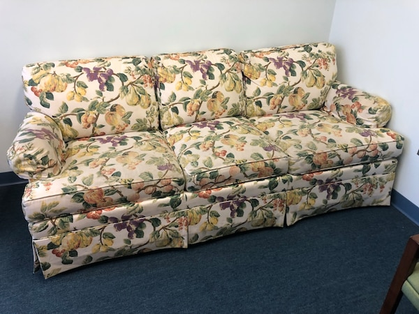 Comfortable 3 seater couch with cute fruit print. #officefurniture #SALE #MustGo