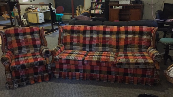 Used Red, White, And Black Plaid Sofa. Vintage Solid Wood