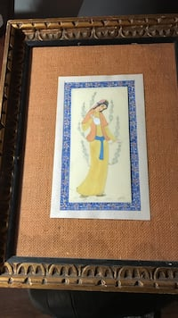 woman in peach and yellow dress painting with brown wooden frame Farmington Hills, 48336