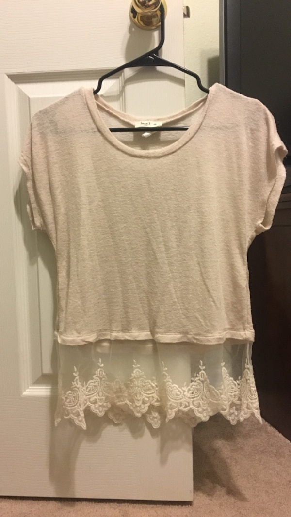 Beige with lace bottom shirt