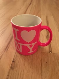 pink and white I heart NY printed ceramic mug New York, 11211