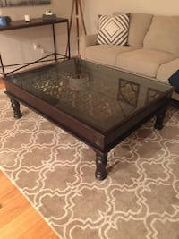 rectangular black wooden framed glass top coffee table Castaic, 91384