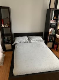Full bed, mattress, frame, and two book shelves