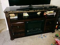 black wooden TV stand with flat screen television Quincy, 02169