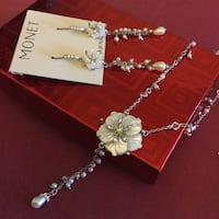 MONET Mother if Pearls long floral earrings with Floral necklace together / New with price tags Alexandria, 22311