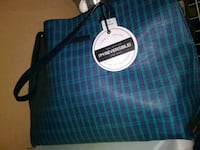 blue and white plaid tote bag 2052 mi