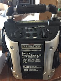 black and grey Eliminator battery air compressor with battery pack East Luther Grand Valley, L9W