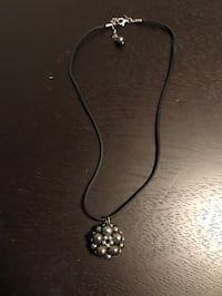 Black and Multi colored fresh water pearls on Leather necklace. Unique Clearwater, 33763