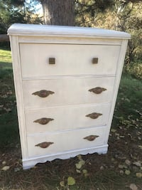 Gorgeous Vintage Antique Shabby Chic White Dresser Chest of Drawers with Original Hardware Zimmerman, 55398