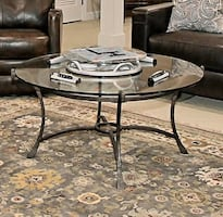 Iron & Glass Round Coffee Table