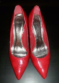 pair of red leather heeled shoes Calgary, T2P 0V6