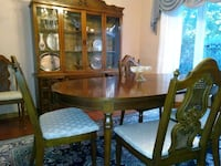Dining room table with insert , 6 chairs and hutch